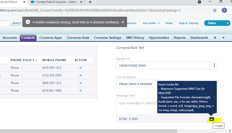 Unable to send bulk mms